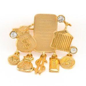 Vintage Credit Suisse Gold Bars Brooch